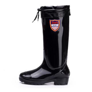 强人 JDMYX907-1 际华3515加绒款保暖男士雨靴内胆可拆卸套脚防水胶鞋 黑色 40码