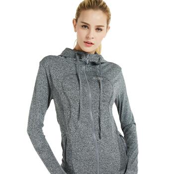 ALPINT MOUNTAIN 户外跑步一体织连帽长袖开衫卫衣 运动外套女 瑜伽健身服健身衣 650-904 灰色 L