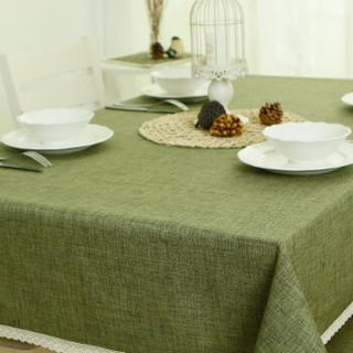 锦色华年蔓茵桌布 餐桌布艺 棉麻风 欧式 茶几布 松绿色蕾丝边 130*180cm