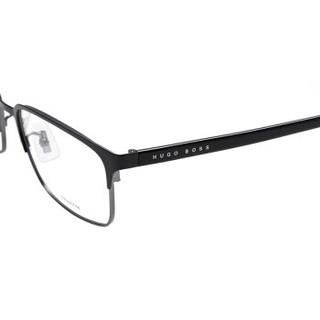 雨果博斯(HUGO BOSS)眼镜框 男女休闲黑色钛金属近视眼镜架圆脸方框潮款光学镜框 0808/F-QIL-5617