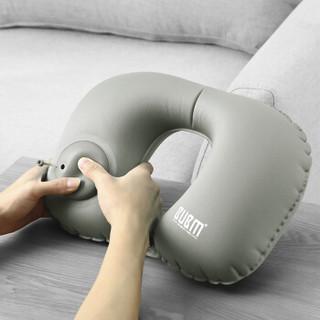 必优美/BUBM 按压式自动充气U型枕 护颈枕便携旅行U形枕飞机午睡头枕脖子U型枕靠枕 LXZ 灰色