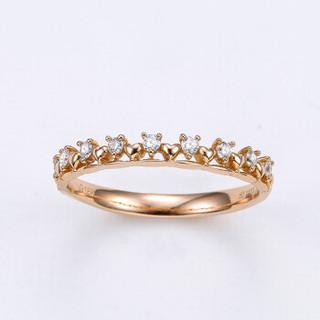 喜钻 时尚小清新排戒正品钻石戒指钻戒18K金戒指女戒 13分 12号