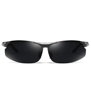 陌龙(Molong)男士偏光太阳镜男潮流驾驶眼镜开车驾驶墨镜时尚墨镜8003L 枪框黑灰片