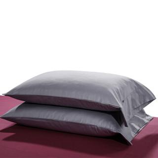 时光居品(turqua)枕套 全棉60支贡缎纯色枕头套一对装不含芯 长绒棉缎纹纯棉单人枕芯套 烟灰紫48*74cm