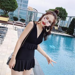 亦美珊泳衣女连体保守韩国温泉小香风遮肚显瘦小胸聚拢裙式游泳衣YMS188290 黑色 XL