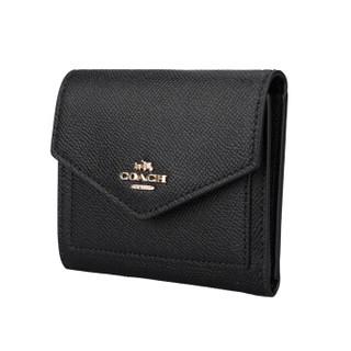 COACH 蔻驰 奢侈品 女士十字纹皮革短款钱包 58298 LIBLK 黑色 (黑色)