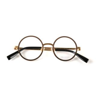 TRUSSARDI 杜鲁萨迪 中性款金色镜框金色镜腿板材全框光学眼镜架眼镜框 VTR269F 0R80 44MM