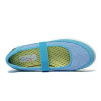SATCHI 沙驰 透气镂空女士休闲鞋 轻便套脚女鞋M70110 湖蓝色 35