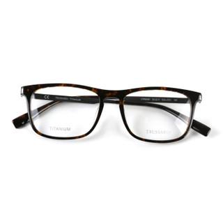 TRUSSARDI 杜鲁萨迪 中性款玳瑁色镜框银灰色镜腿板材全框光学眼镜架眼镜框 VTR263F 0721 53MM