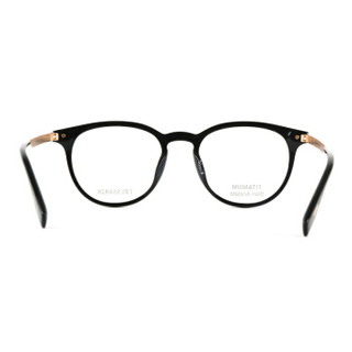 TRUSSARDI 杜鲁萨迪 中性款黑色镜框金色镜腿板材全框光学眼镜架眼镜框 VTR281F 0700 50MM