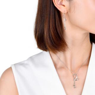 周生生 CHOW SANG SANG Pt950铂金心形吊珠流苏耳环白金耳钉女款 78737E  2.71克