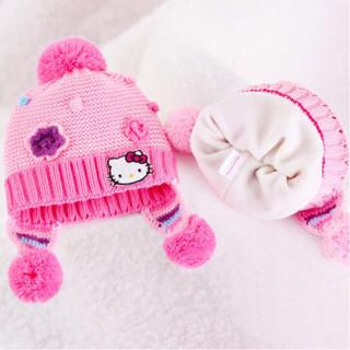 凯蒂猫(HELLO KITTY)女童帽子围巾两件套装儿童保暖针织围脖毛线帽 KT9001 玫红色均码/适合2-6岁