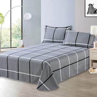 雅鹿·自由自在 床单单件纯棉单人床罩被单 全棉学生宿舍床垫保护罩1米/1.2米床 160*230cm 巴洛克灰