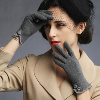 南极人手套女冬季保暖韩版蝴蝶结学生时尚薄款骑行开车女士手套NW-263 灰色