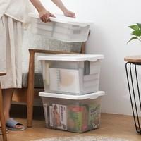 百露塑料收纳箱置物箱透明储物箱整理盒箱子大号有盖 透明磨砂收纳箱 *3件