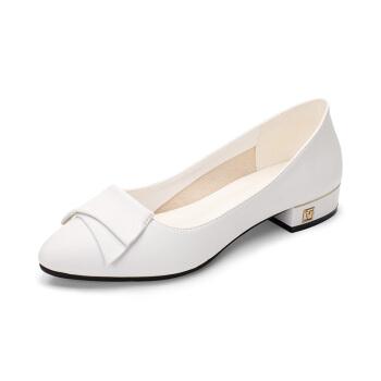 YIYA 毅雅 单鞋女欧美风时尚小尖头浅口百搭舒适低跟套脚 253319 白色 34