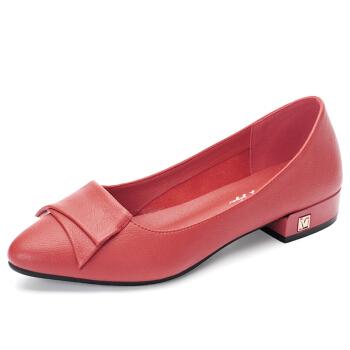 YIYA 毅雅 单鞋女欧美风时尚小尖头浅口百搭舒适低跟套脚 253319 红色 38