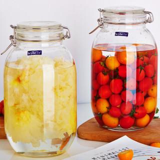喜碧(Scybe)潘多拉圆形玻璃收纳储物密封罐泡菜罐储藏瓶泡酒瓶3200ml 4件套
