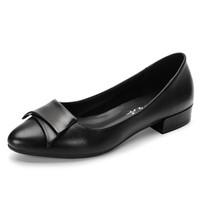 YIYA 毅雅 单鞋女欧美风时尚小尖头浅口百搭舒适低跟套脚 253319 黑色 38