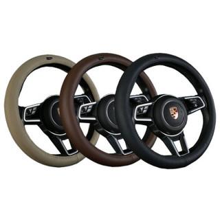 WRC 汽车方向盘套真皮运动把套 整张牛皮一个接口 车用头层牛皮 透气吸汗防滑 四季通用 黑色