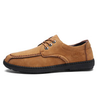 CARTELO 卡帝乐鳄鱼 商务休闲鞋男士手工缝线透气男鞋耐磨户外皮鞋男 901 黄棕 41