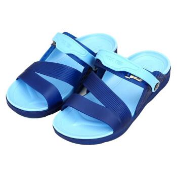 WARRIOR 回力 凉鞋男拖 情侣 沙滩洞洞 户外休闲时尚舒适透气耐磨 076 蓝 44