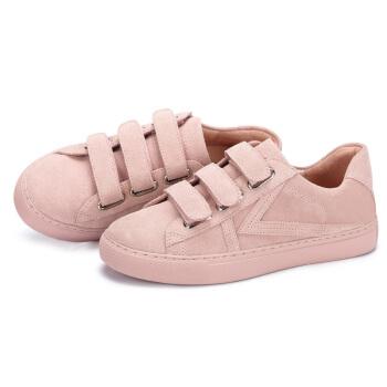 CAMEL 骆驼 女鞋 纯色魔术贴系带个性低跟休闲鞋 A81843676 裸粉 36