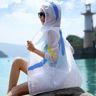 JOY OF JOY 油墨涂鸦拉链连帽长款情侣沙滩防晒衣防晒衫 JWXS182154 白色 均码