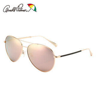 花雨伞(Arnold Palmer)太阳镜女士款偏光驾驶墨镜女士蛤蟆款时尚墨镜AP11659 C101金色框灰片浅玫瑰金REVO