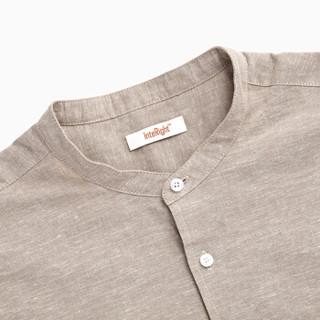 InteRight 麻棉混纺休闲立领短袖衬衫 休闲立领短袖衬衫