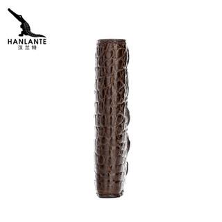 HANLANTE 汉兰特 鳄鱼皮钱包男士短款竖款手拿无拼接钱夹多卡位男青年钱包 H1060328