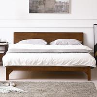 限地区 : 精邦 WSC-011 维多利亚北欧实木床 1.8m 胡桃木色