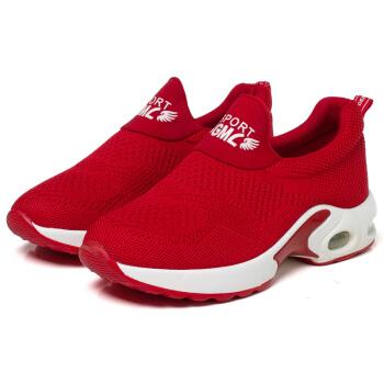 玫蒂莎 时尚套脚百搭运动低帮舒适增高休闲女鞋 2680A 红色 35