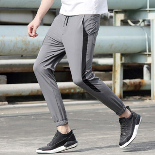 AEMAPE/美国苹果 休闲裤男士修身透气裤子男装免烫个性时尚潮流休闲男裤 9902 灰色 XL