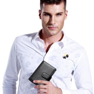 SEPTWOLVES 男士卡包卡片包 多功能多卡位银行卡夹头层牛皮信用卡套 大容量证件包 黑色3A3074231-01