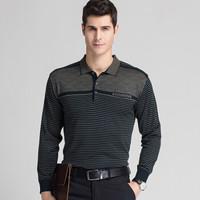 恒源祥 T恤男士长袖针织打底条纹商务休闲中年体恤衫  16221805