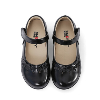 斯纳菲童鞋 精品女童皮鞋黑色学生表演鞋宝宝公主演出鞋儿童单鞋18623黑色34