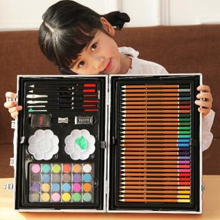 乐缔儿童画笔套装 168件铝盒粉色 画画套装画笔 蜡笔 水彩笔美术画画工具 小学生学习用品文具 绘画笔礼盒装