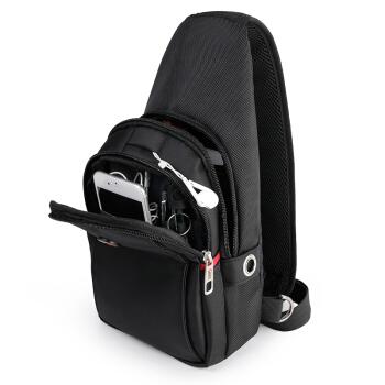 CROSSGEAR 男胸包腰包旅行休闲运动单肩包斜挎包 充电7.9英寸ipad/小米平板小背包大容量手机包 CR-8002 黑色