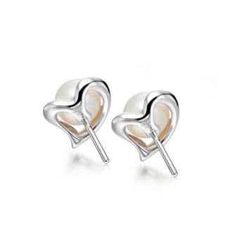 周大福(CHOW TAI FOOK)礼物 心形 925银镶珍珠耳钉 AQ32583 450