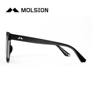陌森(Molsion)太阳镜男 方形墨镜韩版太阳眼镜男士MS3000 D11镜框黑色|镜片暗黑色