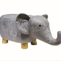 SCNDEWMY 儿童卡通凳实木动物凳子 (灰色小象)