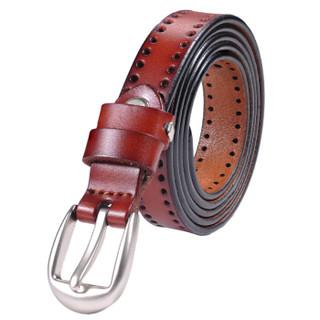 韩思缇(HANSITI)女士皮带 女式装饰针扣连衣裙细腰封休闲女士腰带 THZK029 红棕色