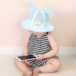 9i9久爱久帽子儿童网眼盆帽宝宝太阳帽夏季透气大帽檐遮阳1710236蓝色