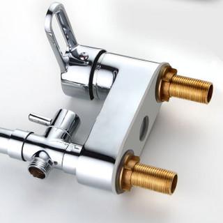 名爵(MEJUE)Z-1254 精铜主体双孔冷热水龙头带分水器淋浴功能双把双控面盆水龙头