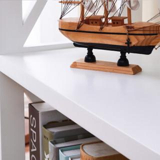 家逸 实木书架 简易层架 储物收纳置物架 五层白色