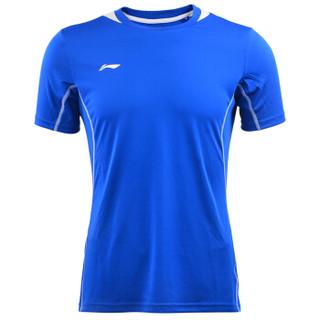 李宁 LI-NING 足球服套男款运动服T恤跑步健身速干凉爽比赛足球衣 AATN033-3 蓝/白 L