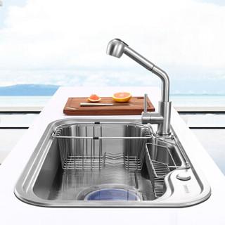 悍高(HIGOLD)920102R厨房水槽大单槽+抽拉龙头套装 优质304不锈钢洗菜盆单盆洗碗槽洗碗池