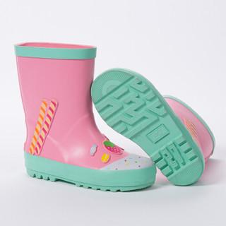 柠檬宝宝 lemonkid儿童雨鞋雨靴男童女童水鞋宝宝幼儿园防滑雨鞋 LE021018 粉色蛋糕 35