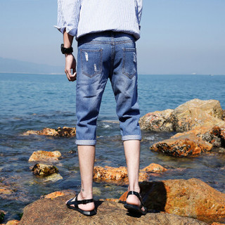 Fuguiniao 富贵鸟 短裤男士薄款牛仔裤7分裤中裤潮男时尚破洞牛仔短裤 18163FGB70